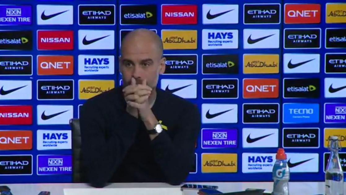 Pep Guardiola's Hold News Conference Regarding Their Match With The Gunners