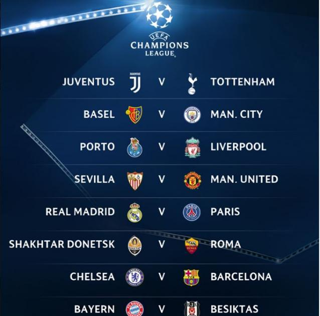The UEFA Champions League Round of 16 Draw 2018