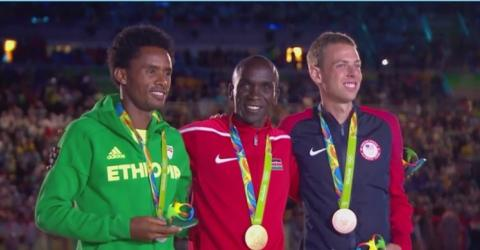 Feyisa Lilesa of Ethiopia at Men's Marathon Medal Ceremony