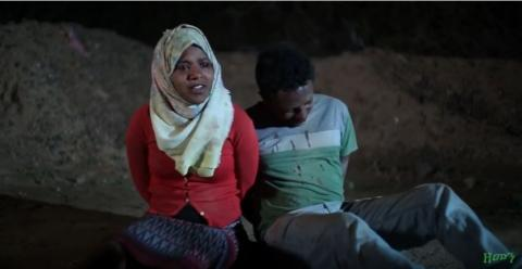 Very sad scene from Zemen drama showing detained immigrants.
