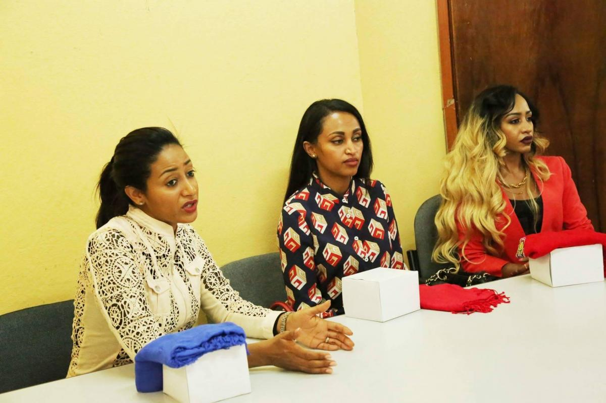 Amelset Muchie, Enku Design and Marzel  donated sanitary pads